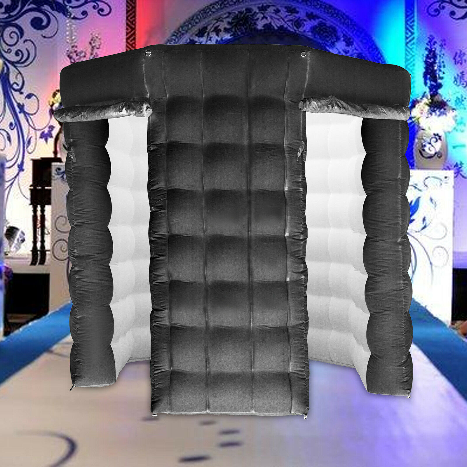 Inflatable Photo Booth 8.2X 8.2ft Photo Booth with 16 Colors LED Changing Lights and Biult-in Fan Great for Parties Weddings Anniversary Birthdays Company Parties Special Events 3 Doors